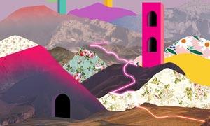 创意独特的3D风景主题海报PS教程素材