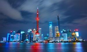 上海东方明珠美丽夜景高清摄影图片