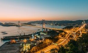 香港青馬大橋美麗夜景攝影圖片