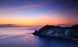 海边美丽的黄昏景观摄影图片