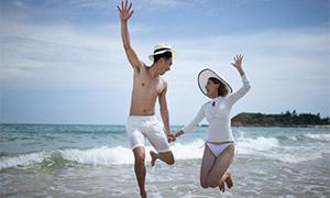藍天大海風光情侶寫真攝影高清原片