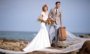 海边礁石外景风光婚纱摄影高清原片