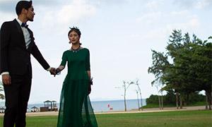 藍天大海草坪外景婚紗攝影高清原片