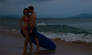 海邊自然風景情侶寫真攝影原片素材