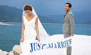 遠山大海外景婚紗人物攝影原片素材