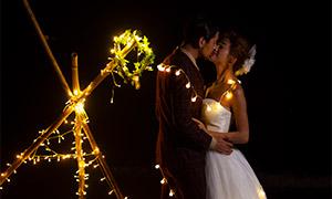 浪漫小燈裝飾夜景婚紗攝影高清原片