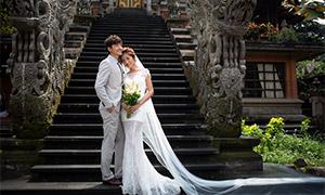 寺廟臺階上的人物婚紗攝影高清原片