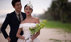 露肩裝扮美女人物婚紗攝影原片素材