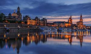 德国德累斯顿美丽夜景摄影图片