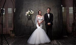 鲜花衣架内景布置婚纱摄影原片素材