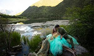 湖光山色外景婚纱摄影高清原片素材