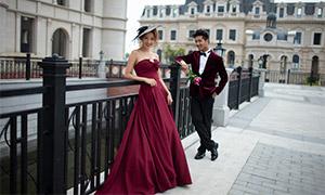 欧式风情建筑外景婚纱摄影原片素材
