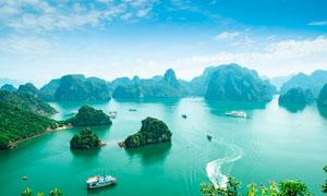 越南下龙湾美景全景摄影图片