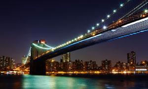 壮观的大桥美丽夜景摄影图片