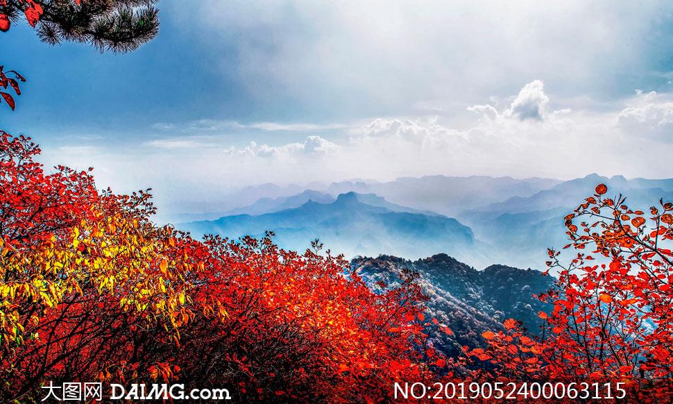 太行山美丽的山顶风光摄影图片