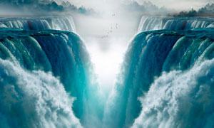 壮观的大瀑布美景摄影图片