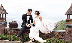 黑白配美女帅哥婚纱照摄影原片素材