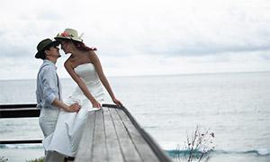 天空白云大海风景婚纱摄影高清原片