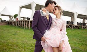 紫色西装男士与粉红色婚纱美女原片