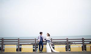 海边栏杆处的恋人婚纱摄影高清原片