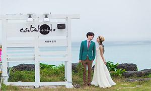 海边岩石草丛外景婚纱摄影高清原片