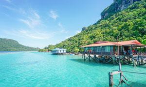 马来西亚仙本那珍珠岛水屋摄影图片
