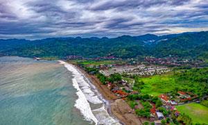 海边村庄航拍图美景摄影图片