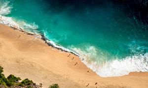 海边沙滩航拍图美景摄影图片