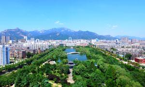 泰山南湖美景高清摄影图片
