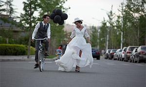 走在路上的恋人婚纱照摄影高清原片