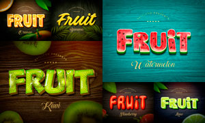 7款水果主题文字设计PSD模板