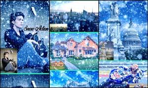 中文版蓝色调冬季下雪效果PS动作