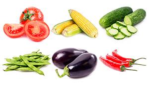 茄子辣椒与土豆玉米等蔬菜高清图片