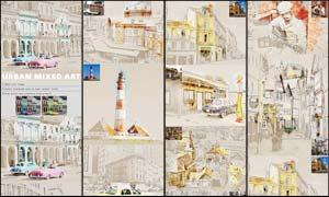 城市照片混合艺术绘画效果PS动作