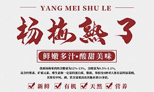 新鲜杨梅水果宣传海报PSD素材