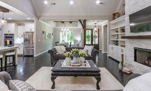 厨房与客厅的陈设布置摄影高清图片