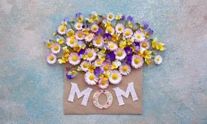 精心摆放的鲜花与剪纸字母创意图片
