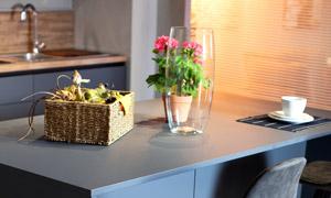 玻璃杯鲜花与高脚椅子摄影高清图片