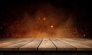 木板与梦幻璀璨的粒子摄影高清图片