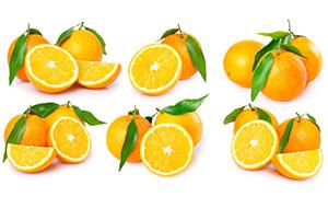 都带着叶子的新鲜橙子摄影高清图片