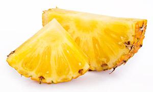 切成块的香甜多汁菠萝摄影高清图片