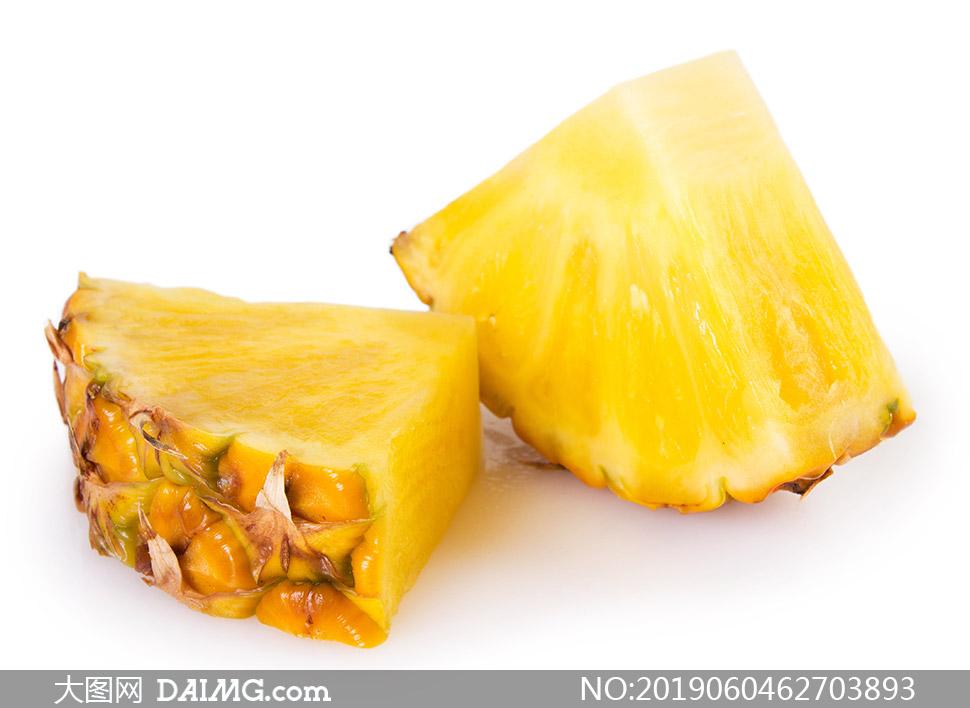 酸甜可口的菠萝块特写摄影高清图片