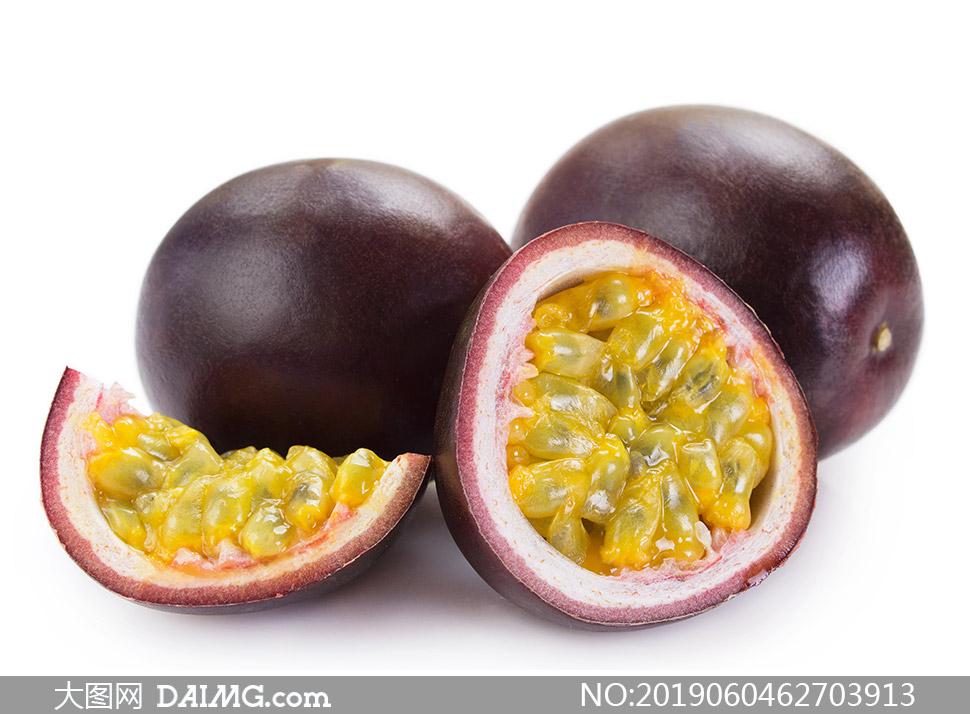 熟透的百香果水果特写摄影高清图片