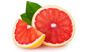 鲜红色果肉的西柚特写摄影高清图片