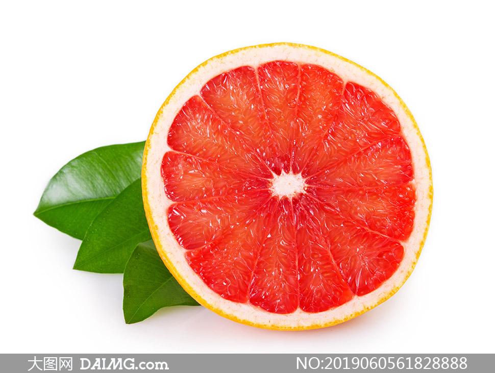 鲜红果肉的葡萄柚特写摄影高清图片