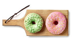 粉色与绿色甜甜圈特写摄影高清图片