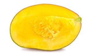 剖开后的新鲜芒果切面摄影高清图片