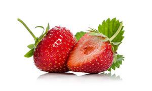 圓潤飽滿新鮮草莓特寫攝影高清圖片
