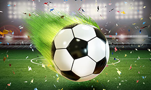 表面长了草的足球创意设计高清图片