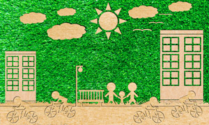 草地房子与骑车人物等创意高清图片